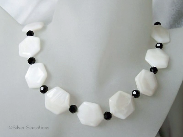 Hexagonal White River Shell & Faceted Black Crystal Necklace | Silver Sensations